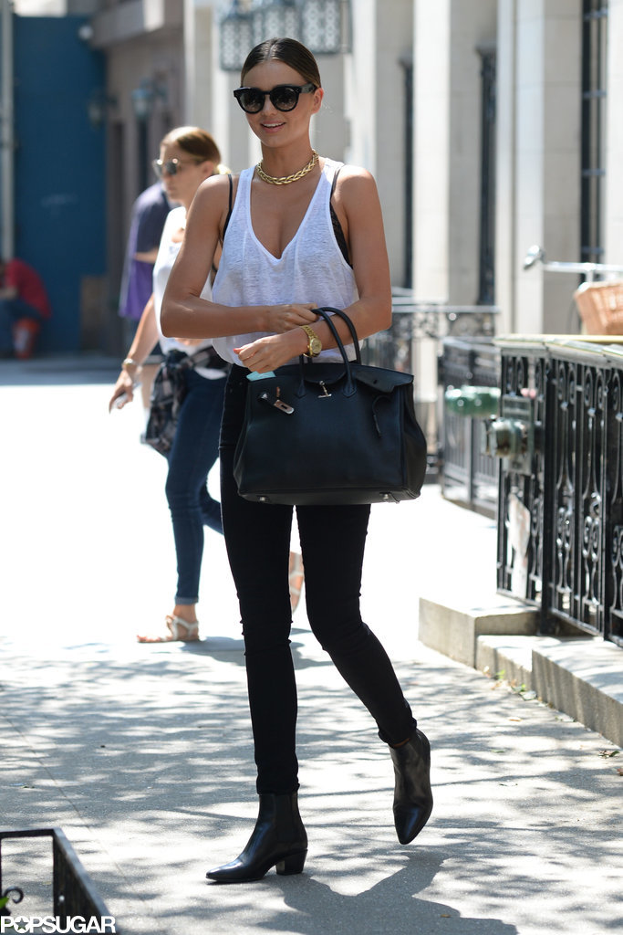 Miranda Kerr smiled in NYC on Monday.