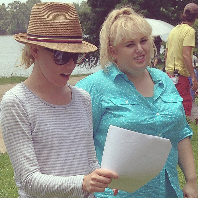 Banks and Wilson had a warm day on set. Source: Instagram user pitchperfectmovie