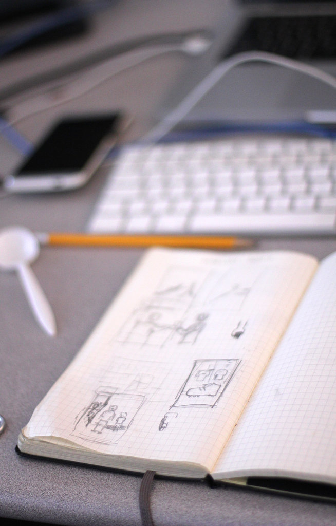 After brainstorming a few options, designers start sketching out the best idea.