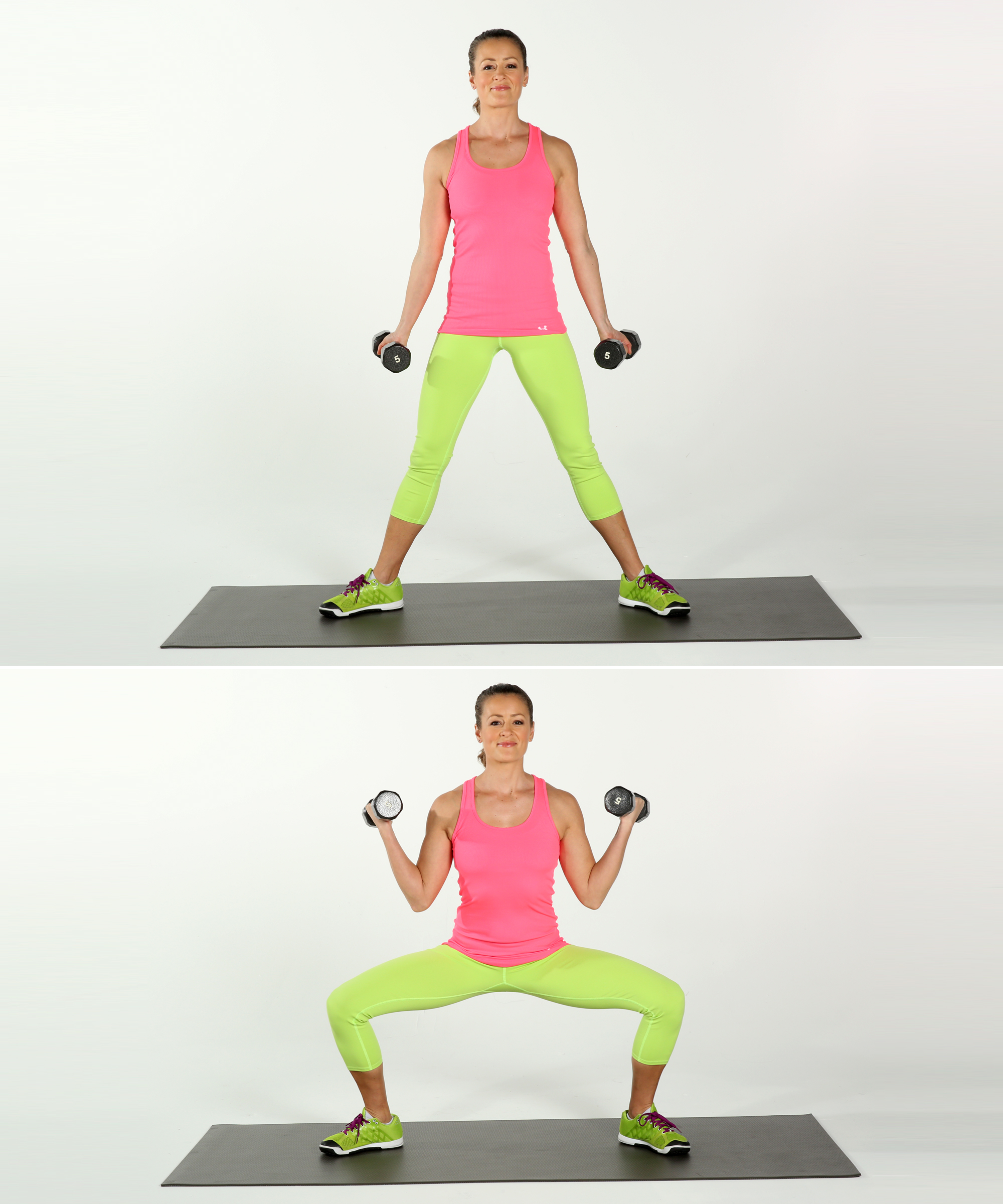 Wide Squat And Biceps Curl