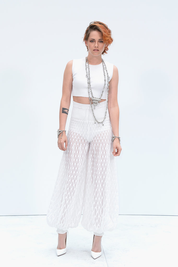 Kristen Stewart debuted her short new haircut at the Chanel show at Haute Couture Fashion Week in Paris on Tuesday.