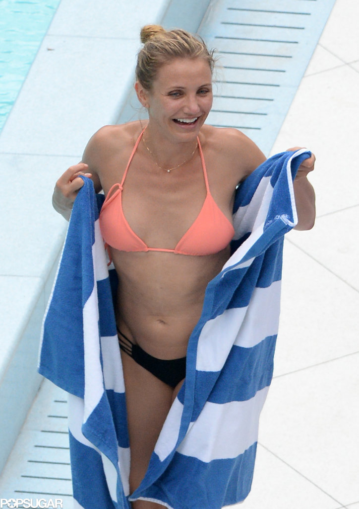 Cameron Diaz showed off her bikini body in Miami Beach, FL, on Monday.