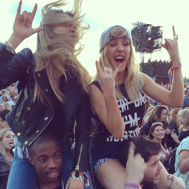 Cara Delevingne and Ellie Goulding rocked out together. Source: Instagram user caradelevingne