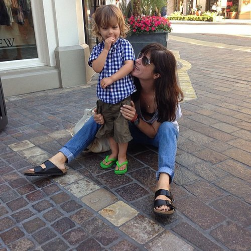 Selma Blair caved and bought Arthur Bleick his first pair of flip flops. Source: Instagram user therealselmablair