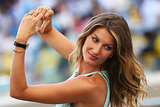 Gisele Bündchen posed for a picture in the stands.