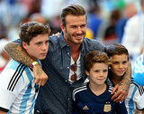 David Beckham posed for a picture with his sons.
