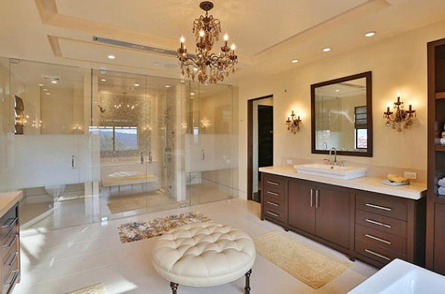 A look into one of the nine beautiful bathrooms.  Source: Trulia