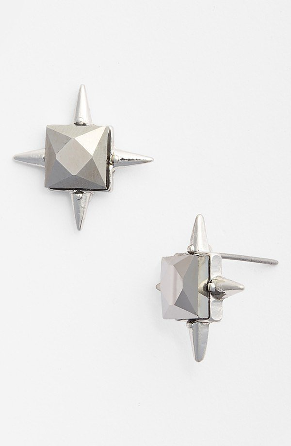 Robert Rose Square Gem Spiked Stud Earrings