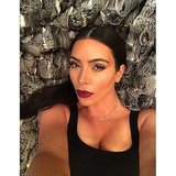Kim Kardashian took a selfie before bed. Source: Instagram user kimkardashian