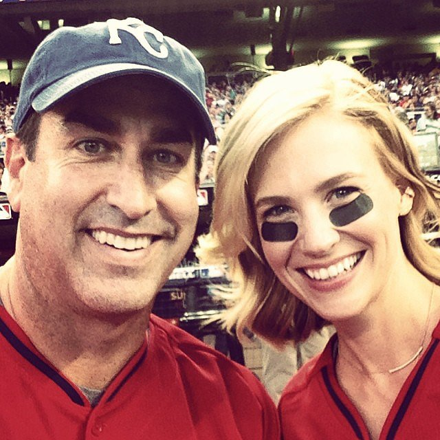 January Jones and Rob Riggle got into their celebrity baseball game. Source: Instagram user januaryjones