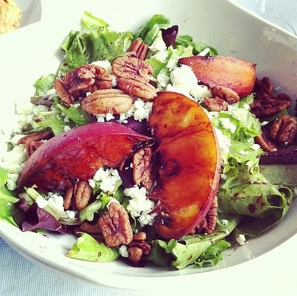 The sweet taste of peaches is a perfect pair to creamy goat cheese on top of a salad. Plus, they are packed with vitamins A and C.  Source: Instagram user honey_and_velvet