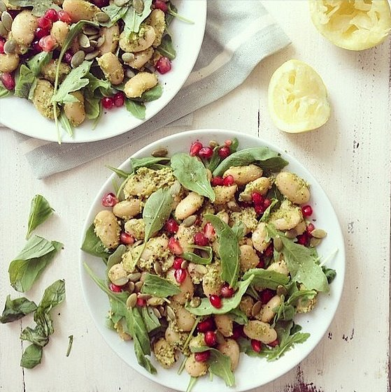 Instead of salad dressing, top your salad of choice with healthy and delicious homemade pesto. Source: Instagram user healthylucyy
