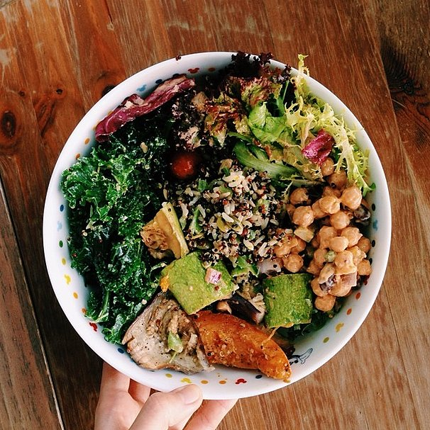 For a healthy dose of fiber and protein, top your salad with a serving of delicious fiber-rich quinoa. Source: Instagram user graciouslyliving