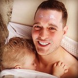 Noah Bublé was wiped out after having sunscreen applied to him by his dad. Source: Instagram user michaelbuble