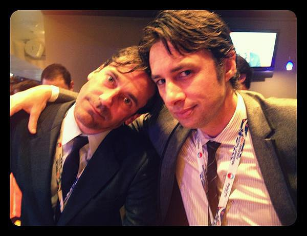 "There's too much hotness in this snap of Jon Hamm and Zach Braff, and Zach knows it. ""Here's one for the ladies,"" he wrote in the caption. Source: Twitter user zachbraff"