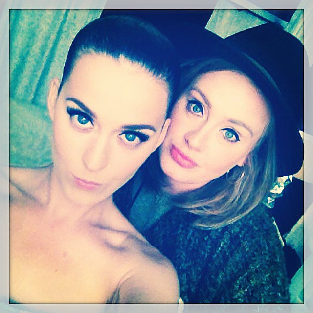 "Adele ""graced"" Katy Perry with her presence at the ""Dark Horse"" singer's London concert in June 2014. Source: Instagram user katyperry"