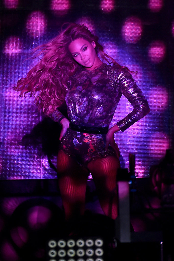 "Beyoncé struck a pose during her ""On the Run"" concert performance in Houston on Friday."