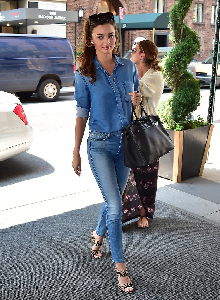 Miranda Kerr Wearing a Denim Shirt and Leopard Heels