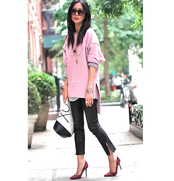 """We're not sure exactly what piece Marissa was referring to when she grammed this photo with the caption """"when my worlds collide. Pink w/ @marissawebbnyc XO w/ @bananarepublic #ootd #nyc #xomarissa,"""" but we'd be happy if any part of her outfit were shoppable at Banana Republic. Source: Instagram user marissawebb"""