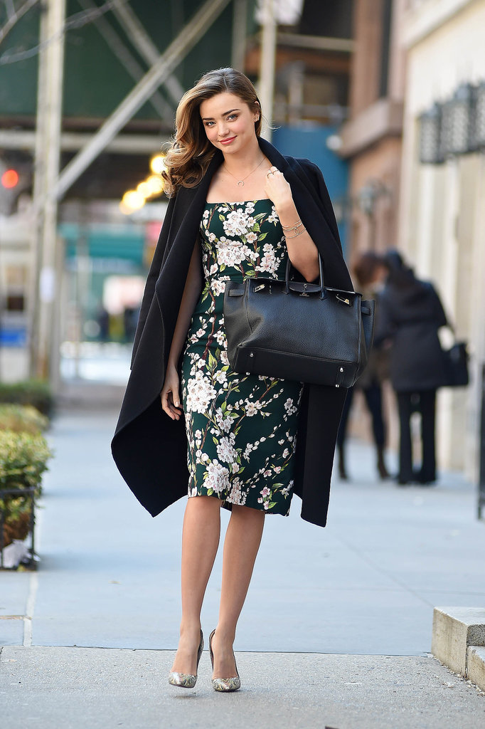 We're not sure that this is an off-duty look every model could pull off with such gracefulness, but Miranda is totally striking in this floral Dolce & Gabbana number that she offsets with contrasting printed heels.
