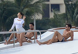 This is her filming a music video months later, on a yacht, surrounded by hot, tan, shirtless men. Casual.