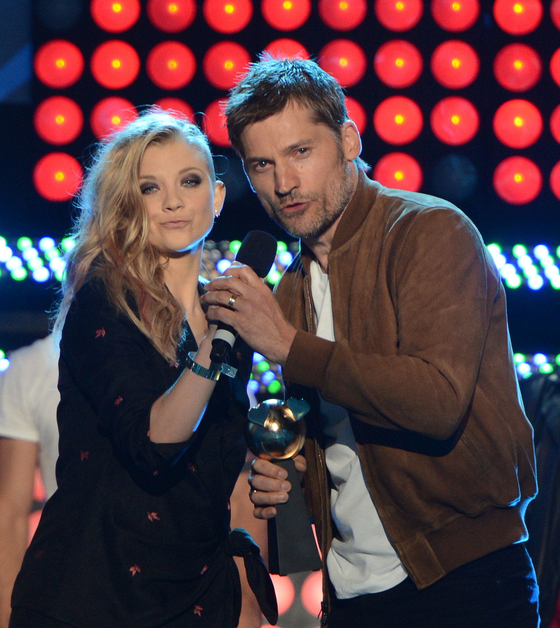 Game of Thrones' Natalie Dormer and Nikolaj Coster-Waldau took the stage at the MTVu Fandom Awards on Thursday.