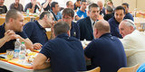 Pope Francis Enjoys Casual Cafeteria Lunch With Surprised Vatican Workers (PHOTOS)