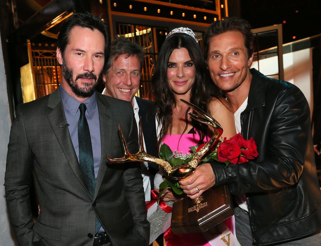 Sandra was the belle of the ball at the Guys Choice Awards in June 2014 — she was awarded with the Decade of Hotness award by her past costars Keanu Reeves, Hugh Grant, and Matthew McConaughey.