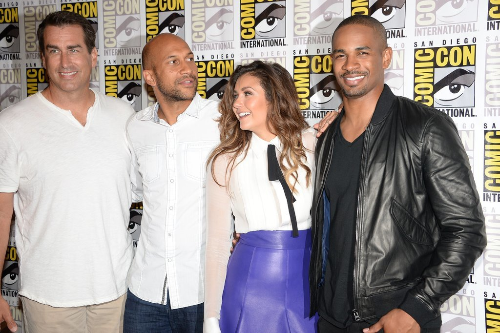Rob Riggle, Keegan Michael Key, Nina Dobrev, and Damon Wayans Jr. huddled on the red carpet at the Let's Be Cops event.