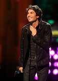 Ian Somerhalder accepted his award on stage at the Young Hollywood Awards in LA on Sunday.