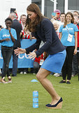 Kate showed off her hopping skills while wearing tall wedges.