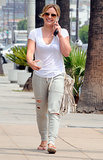 Hilary Duff had a big smile while running errands in LA on Saturday.
