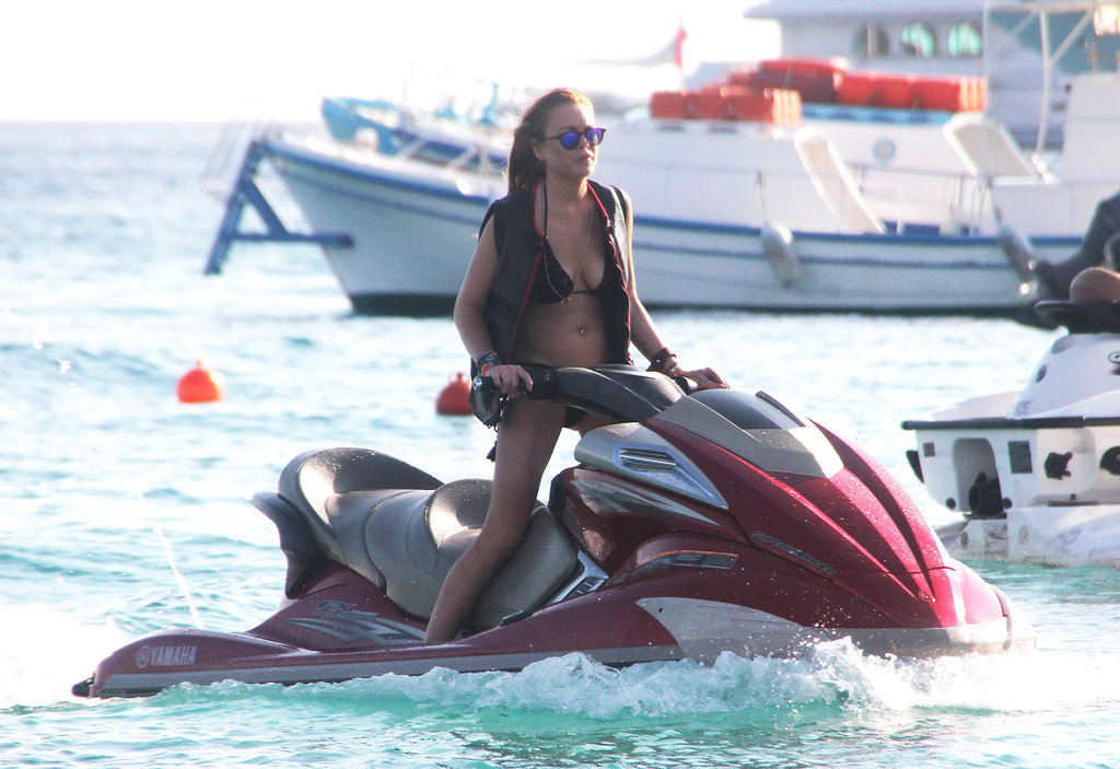 Lindsay Lohan spent her Monday riding a Jet Ski in Greece.