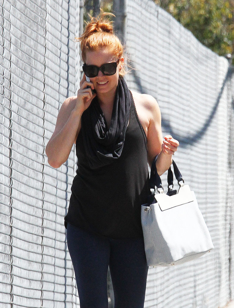 On Friday, Amy Adams was all smiles while chatting on the phone.