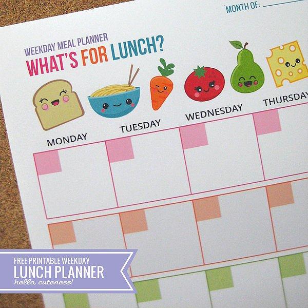 Lunch Planning Calendar