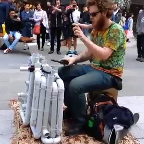 """Guy Playing """"Fancy"""" on PVC Pipes 