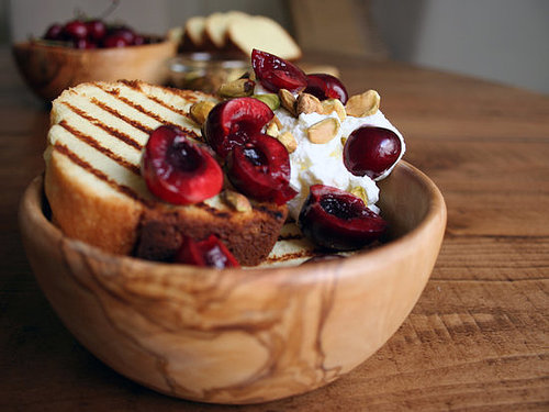 Grilled Pound Cake With Rose Whipped Cream, Pistachios, and Cherries