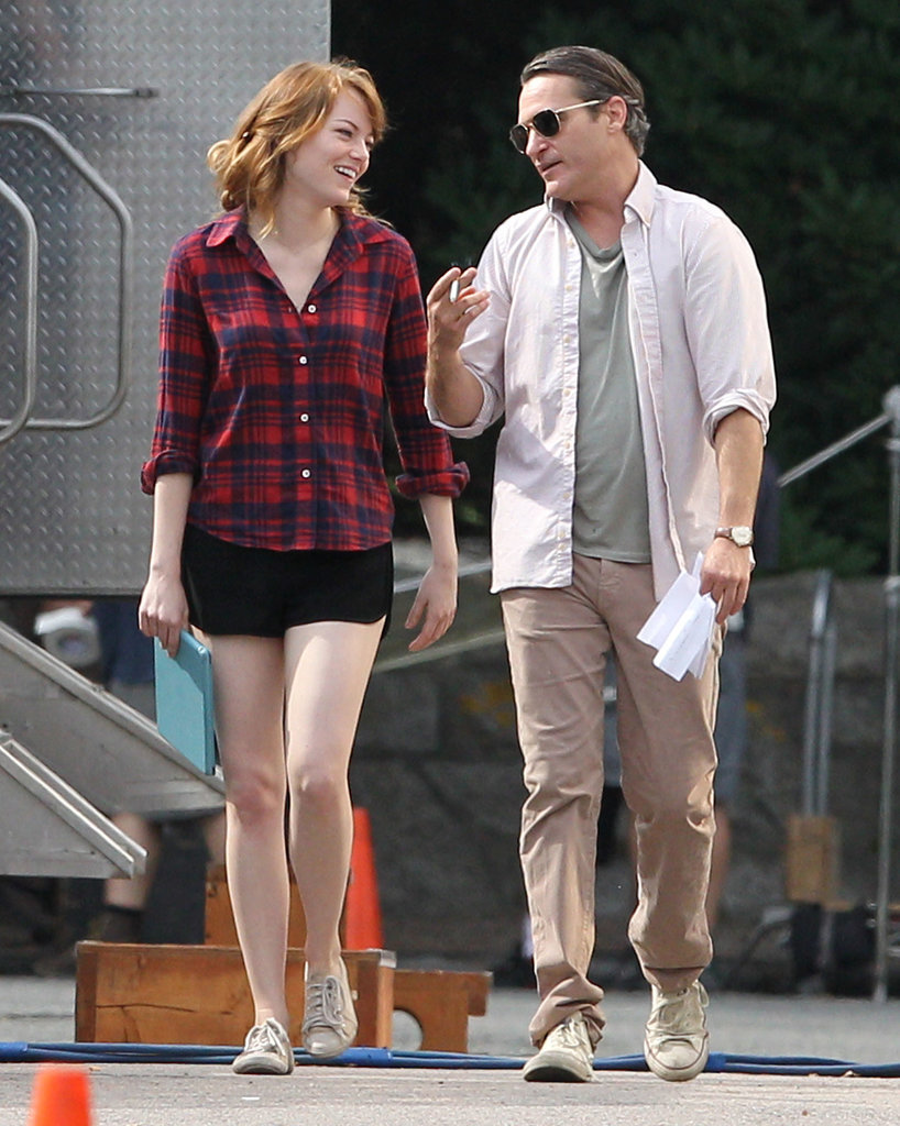 Joaquin Phoenix had Emma Stone laughing on the set of Woody Allen's upcoming movie in Newport, RI, on Thursday.