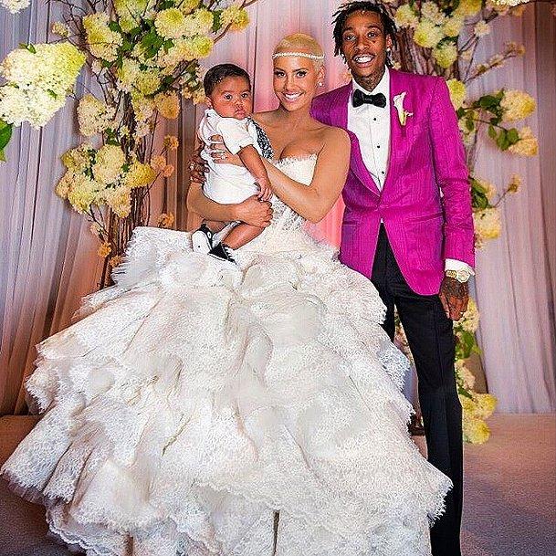 Amber Rose and Wiz Khalifa included their son Sebastian in their wedding snap.  Source: Instagram user muvarosebud