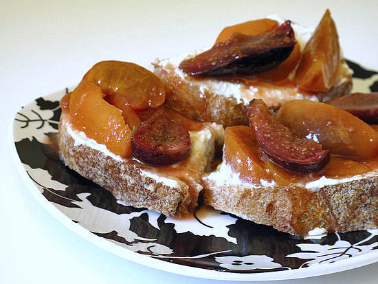 Roasted Apricot and Figs on Bread