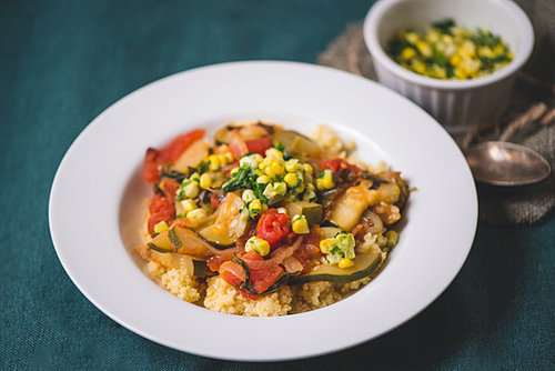 Ratatouille with Fresh Herb Corn Topping
