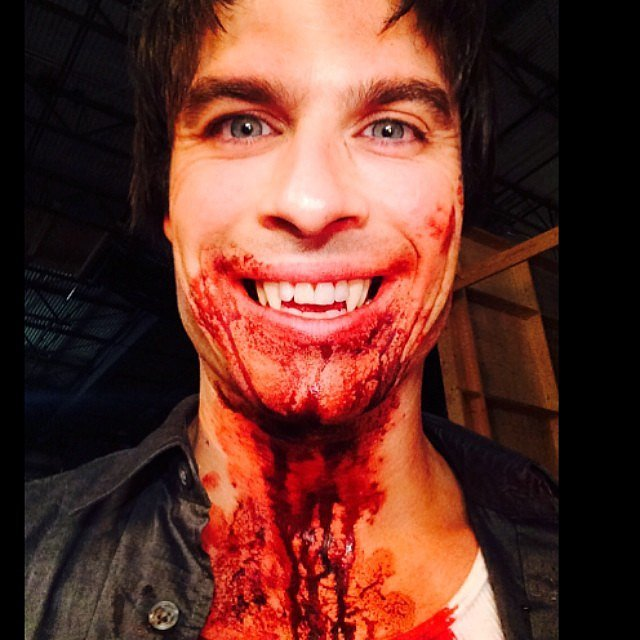 Ian Somerhalder showed off his vampire fangs and fake blood.  Source: Instagram user iansomerhalder