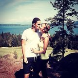 Giuliana Rancic and her husband Bill Rancic shared a kiss during a hike.  Source: Instagram user giulianarancic