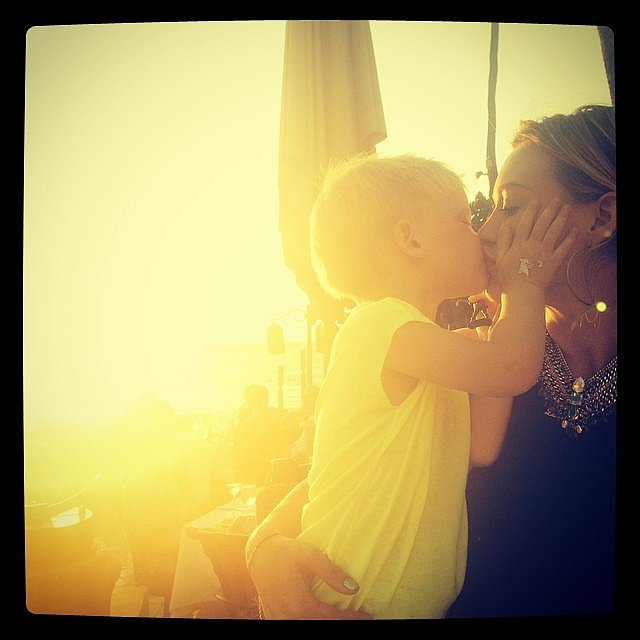 Hilary Duff shared a kiss with her child. Source: Instagram user hilaryduff