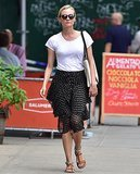Diane appears so laid-back for a few reasons, beginning with her plain white Stylemint t-shirt. By tucking in her top, she's polished, but she adds a simple quirk by contrasting prints with her leopard gladiator sandals. And those go-to tortoise sunglasses provide an effortless touch. Let's say it all together now — that was easy!