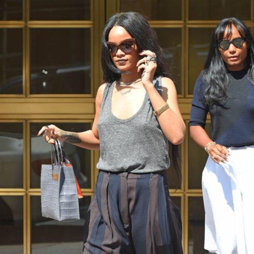 Rihanna's Pinstriped-Pants Street Style
