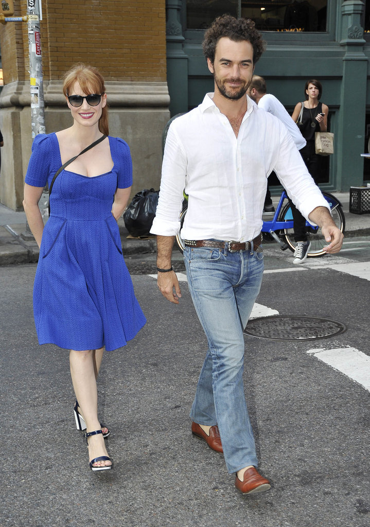 On Wednesday, Jessica Chastain flashed her smile on a stroll with her boyfriend, Gian Luca Passi de Preposulo, in NYC.
