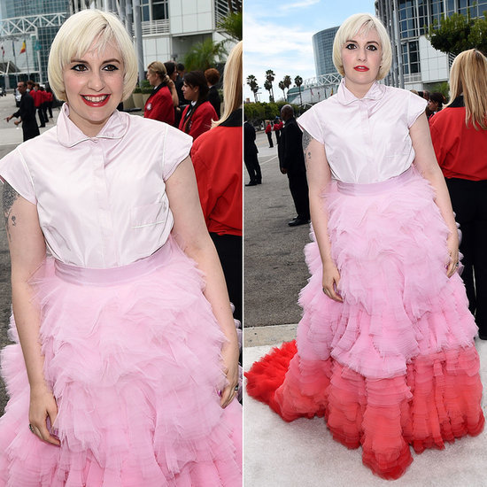 Lena Dunham at the 2014 Emmys in Pink Giambattista Valli
