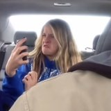 Dad Films Daughter Taking Selfies in Car Video