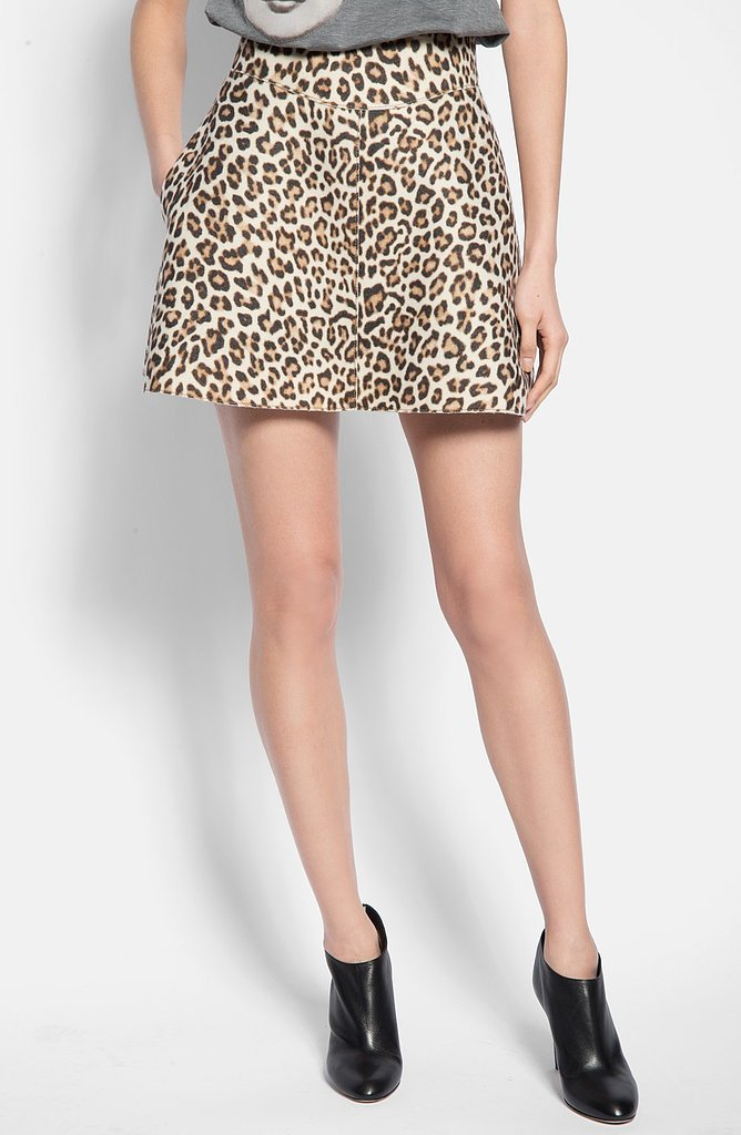 Carven Leopard Print Flared Skirt